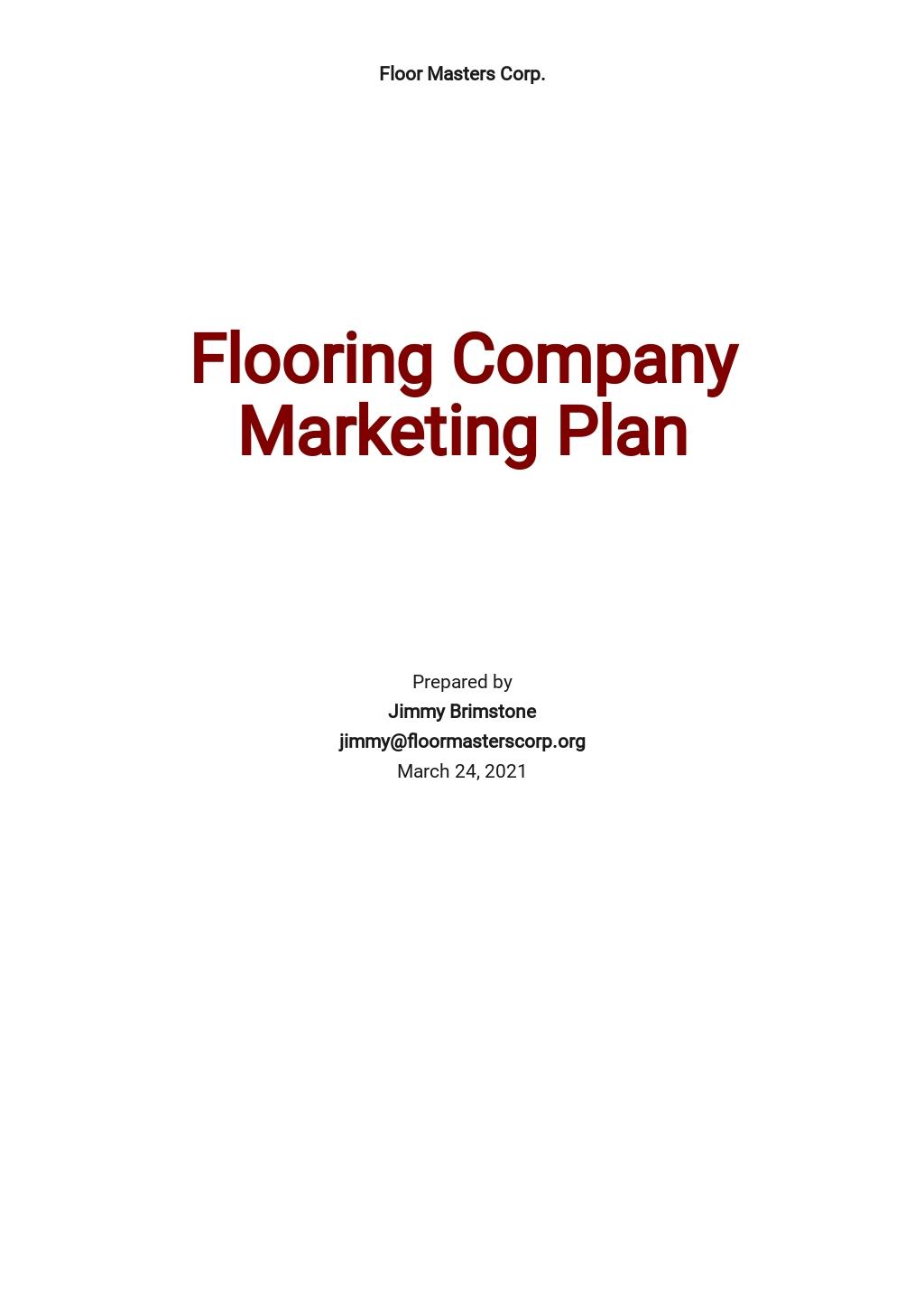Flooring Company Marketing Plan Template