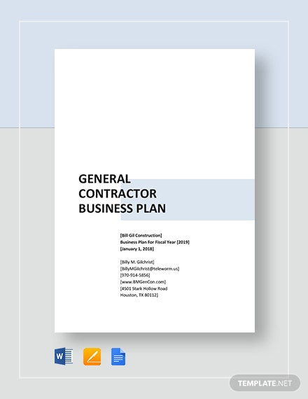 general contractor business plan