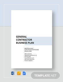 General Contractor Business Plan Template