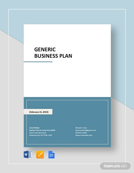 Generic Business Plan Template