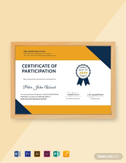 Free Certificate for Outstanding Participation Template