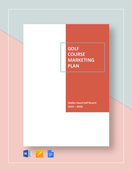 Golf Course Marketing Plan Template