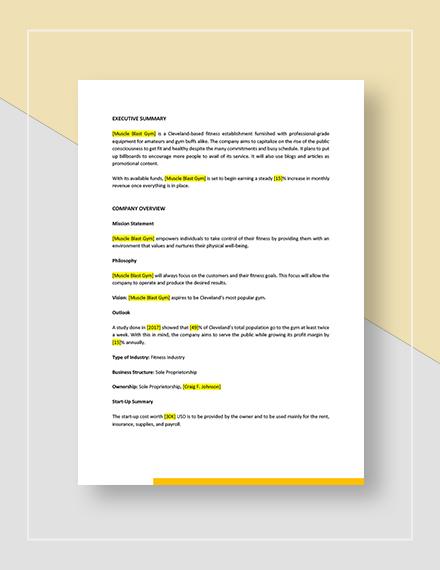 Gym Marketing Plan Download