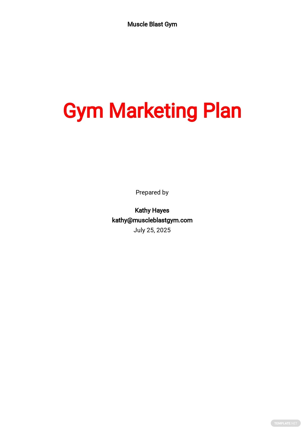 Gym Marketing Plan Template