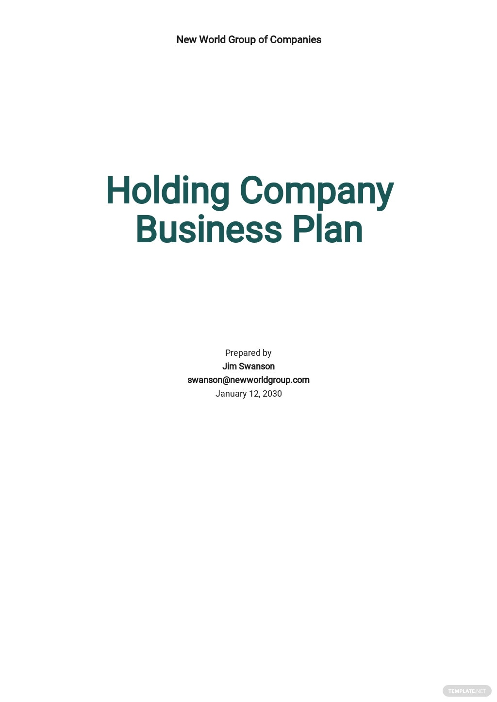 Holding Company Business Plan Template