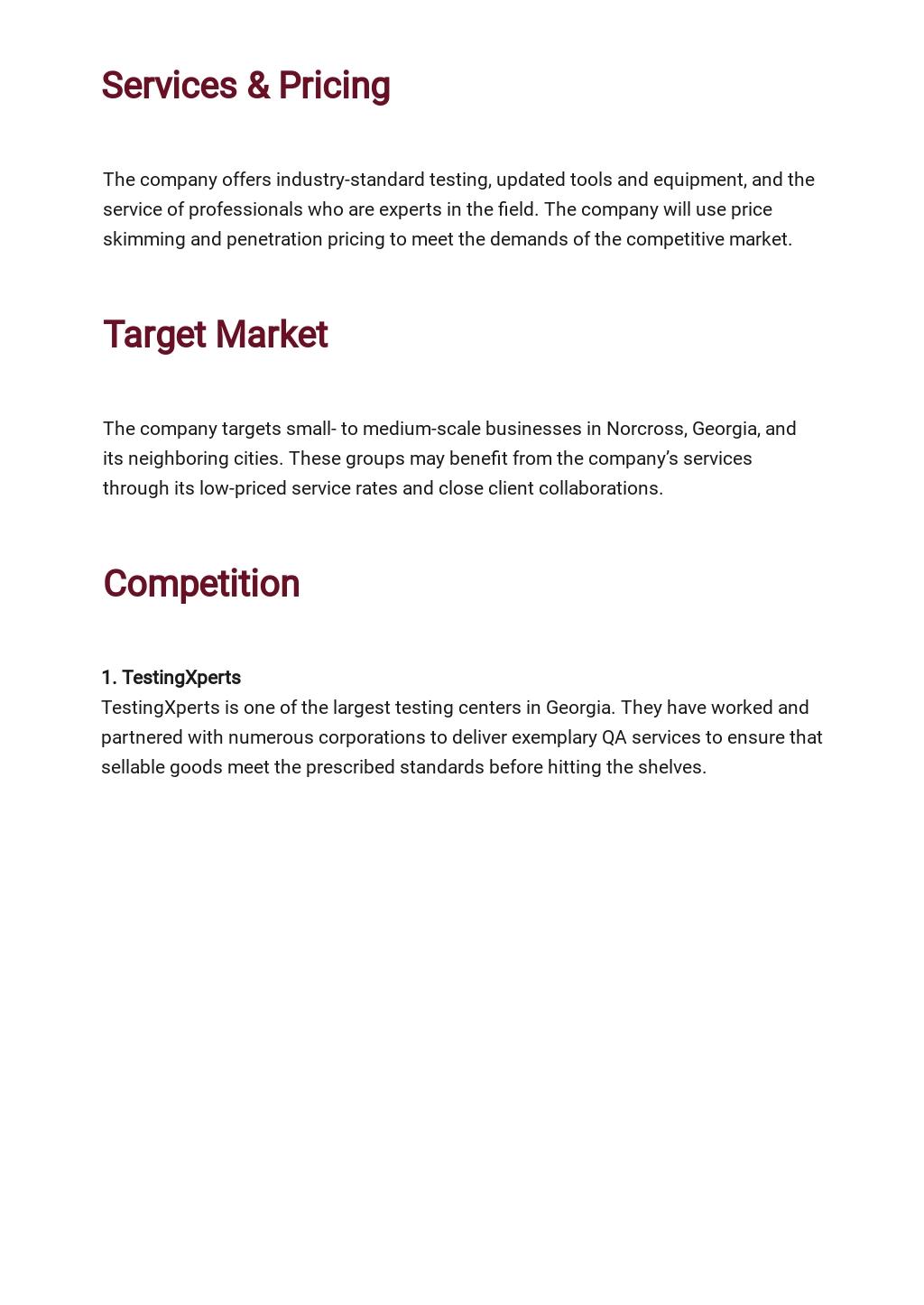 Quality Assurance Business Plan Template 2.jpe