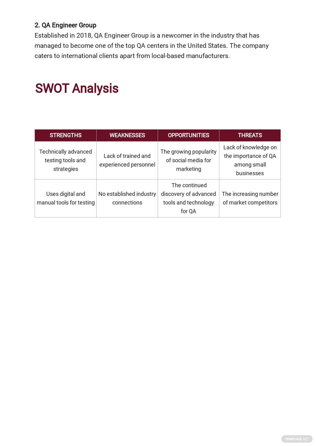 Quality Assurance Business Plan Template 3.jpe