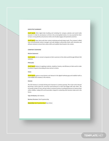 SEO Agency or Company Business Plan Download