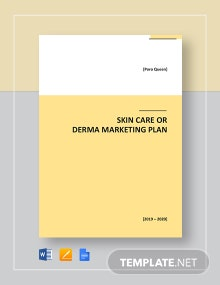 Skin Care or Derma Marketing Plan Template