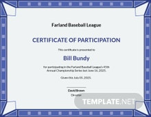 Free Participation Certificate for Sports Template