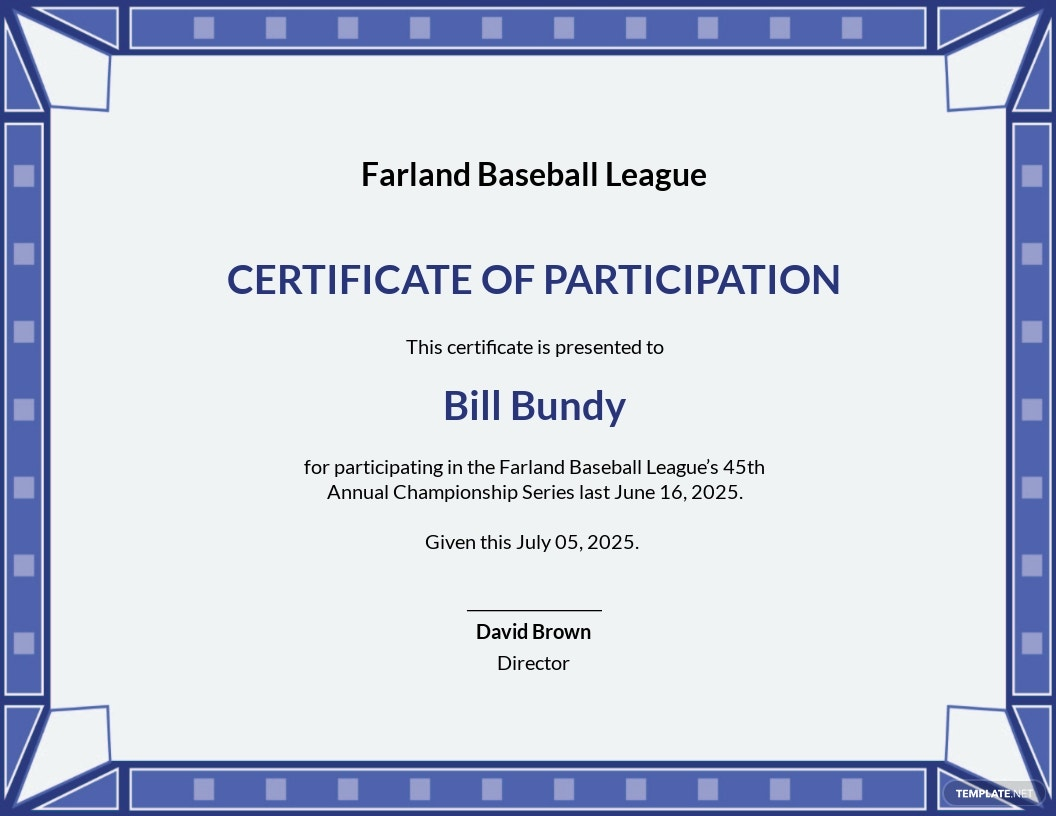 Free Participation Certificate for Sports Template.jpe