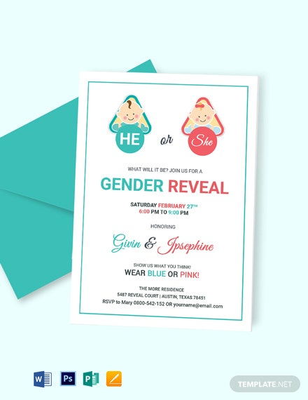 baby gender reveal invitation card template word psd. Black Bedroom Furniture Sets. Home Design Ideas