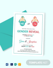 Baby Gender Reveal Invitation Card Template