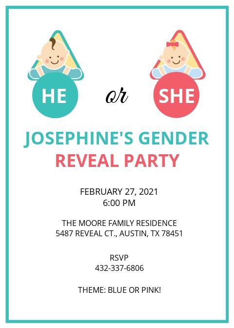 Baby Gender Reveal Invitation Card Template.jpe