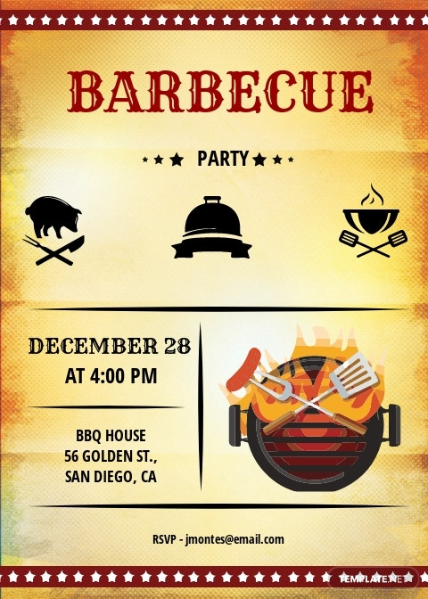 Sample BBQ Party Invitation Template