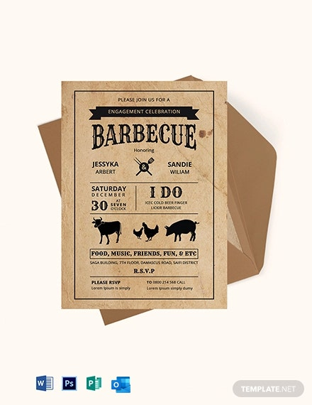 BBQ Engagement Party Invitation Card Template