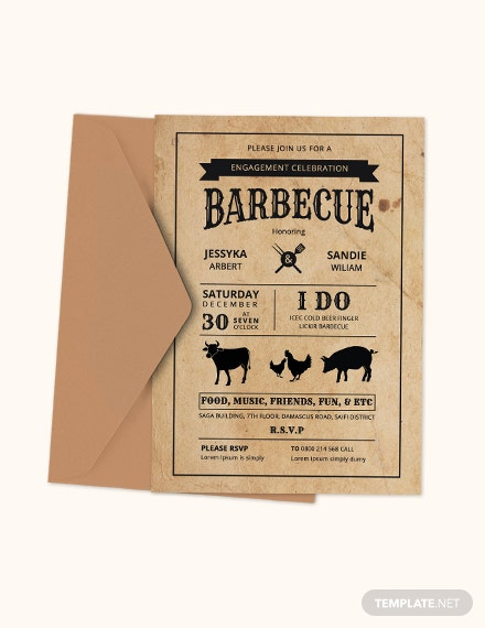 BBQ Engagement Party Invitation Card Template Download