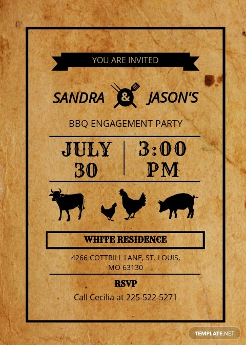 BBQ Engagement Party Invitation Card Template.jpe