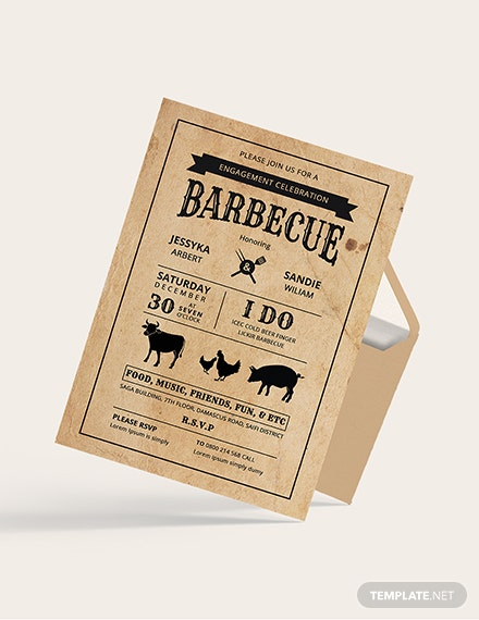 Sample BBQ Engagement Party Invitation Card Template