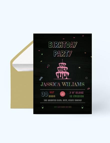 Chalk Board Birthday Invitation Editable