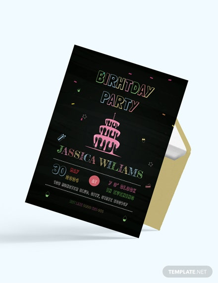Chalk Board Birthday Invitation download