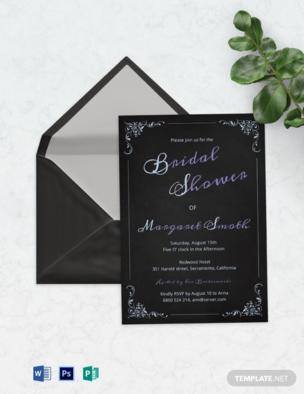 Modern Chalkboard Bridal Shower Invitation Template