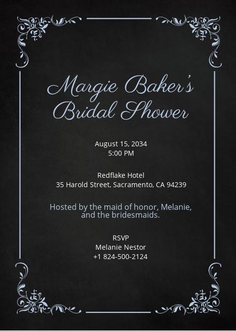 Modern Chalkboard Bridal Shower Invitation Template