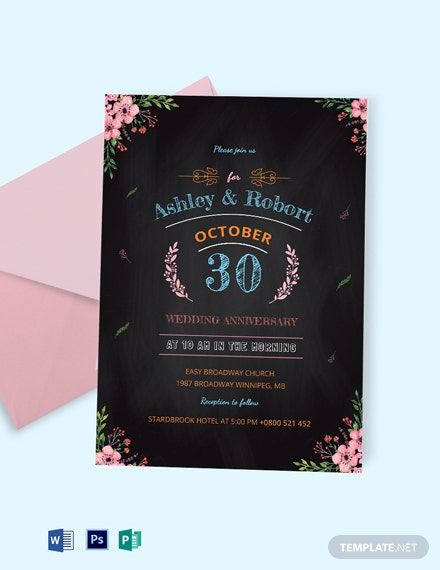 Chalkboard Wedding Anniversary Invitation Template