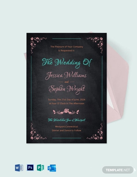 Creative Chalkboard Wedding Invitation Template