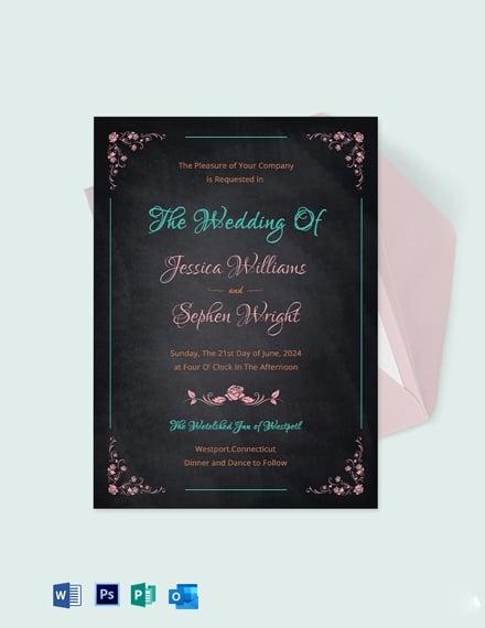 Creative Chalkboard Wedding Invitation Template