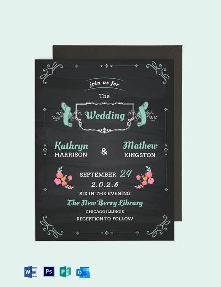 Chalkboard Wedding Invitation Card Template