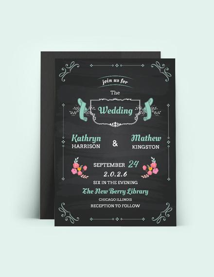 Sample Chalkboard Wedding Invitation Card Template