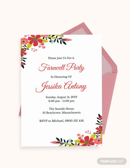 Classic Farewell Party Invitation Template Download
