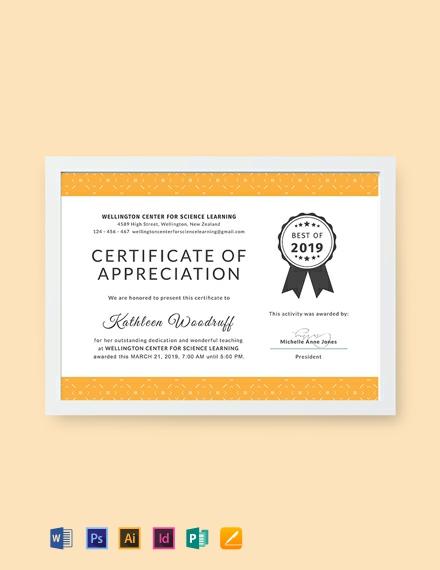 57  free appreciation certificate templates