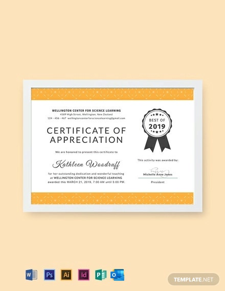 Free Certificate of Appreciation for Teacher Template