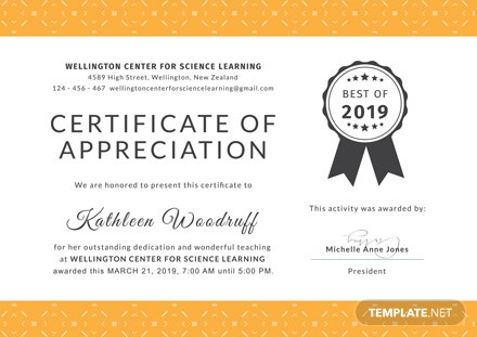 Free Certificate Of Appreciation For Teacher Template Download 200