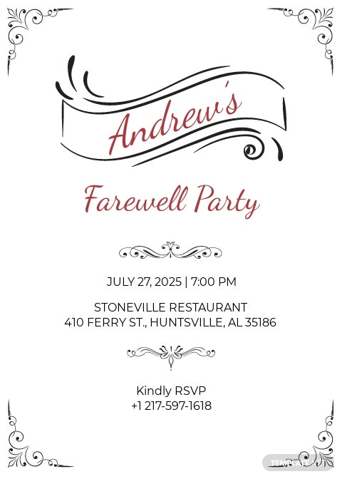 Elegant Farewell Party Invitation Template