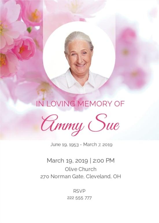 Elegant Funeral Program Invitation Template