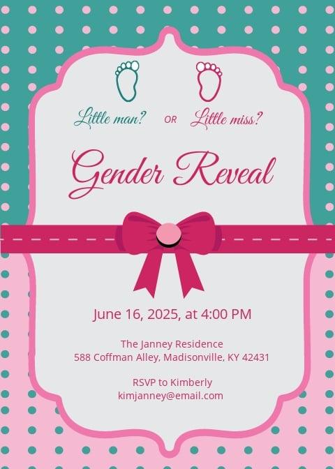 Elegant Gender Reveal Invitation Card Template