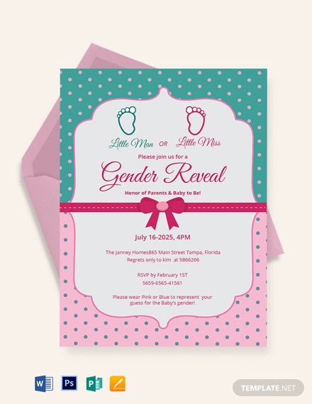 Elegant Gender Reveal Invitation Card Template
