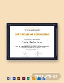Free Training Completion Certificate Template