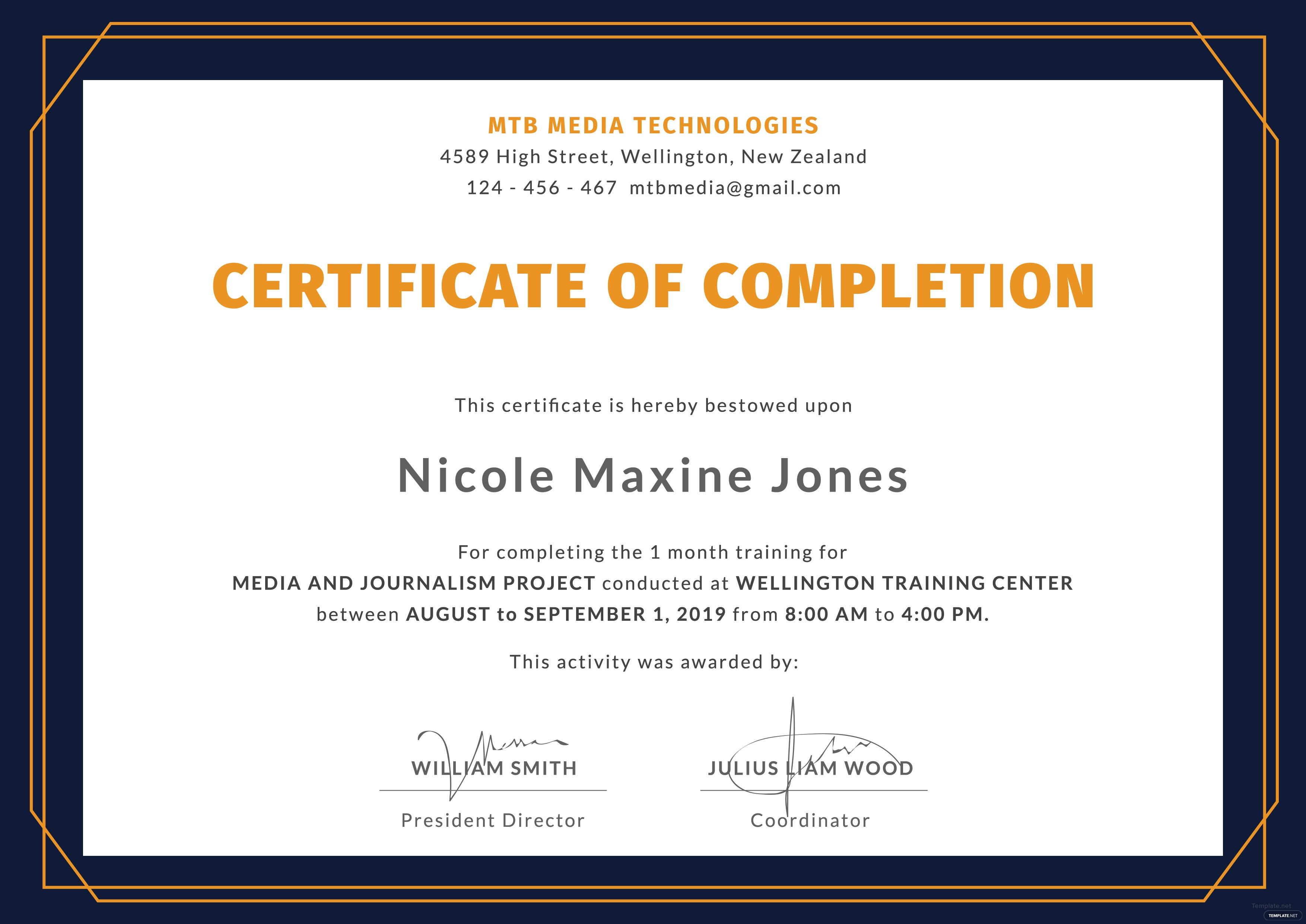 Training Completion Certificate Sample Zrom