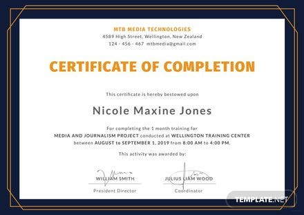 Free computer training certificate template free templates free training completion certificate template yelopaper Gallery