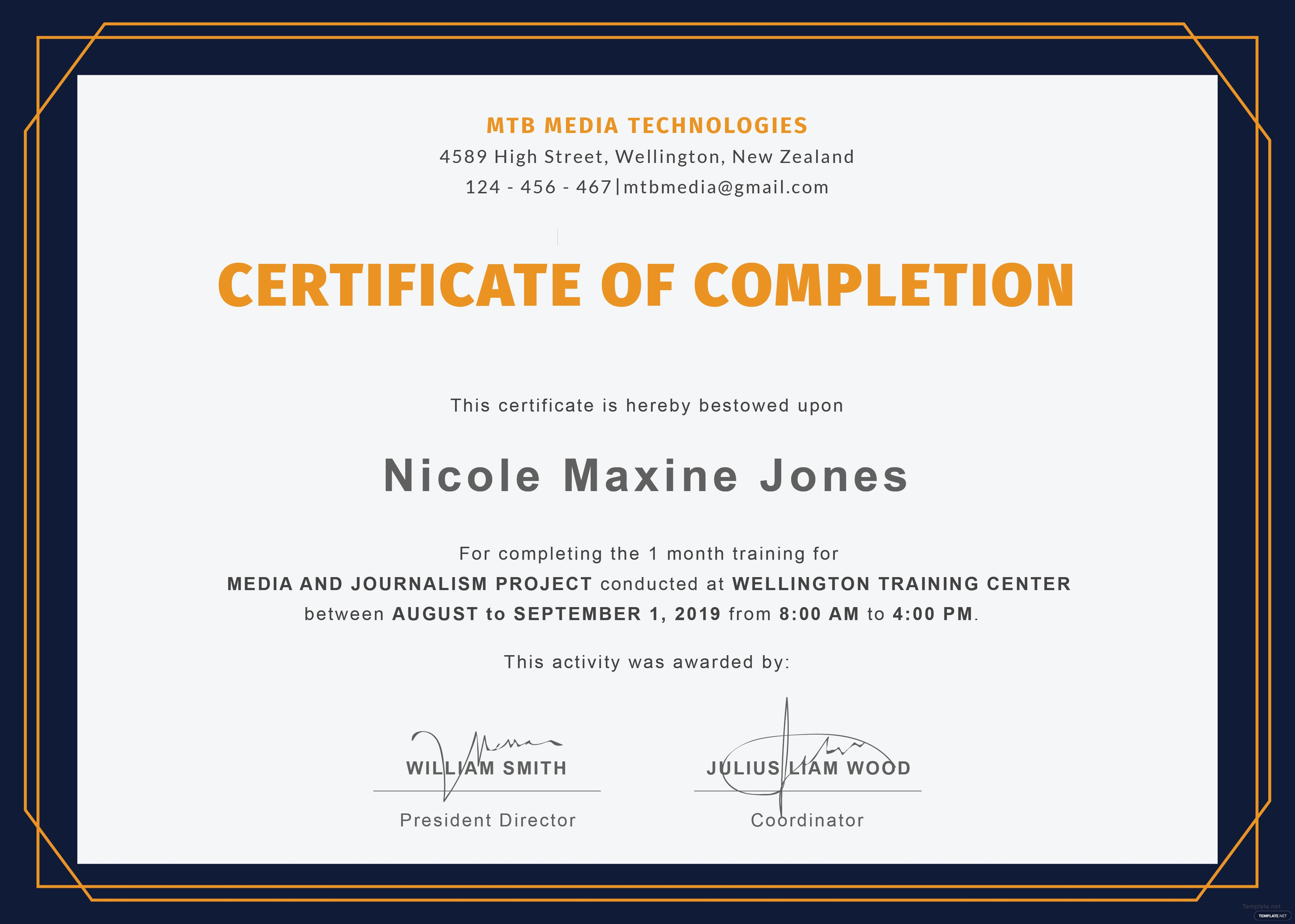Free training completion certificate template in adobe illustrator click to see full template training completion certificate yadclub Choice Image