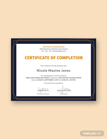 Free Training Certificate Templates Download Ready Made Template
