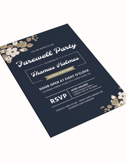 Sample Farewell Party Invitation Card Template
