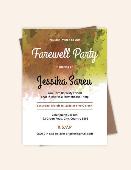 Sample Farewell Party Invitation Template
