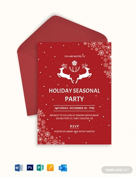 Festive Holiday Party Invitation Template