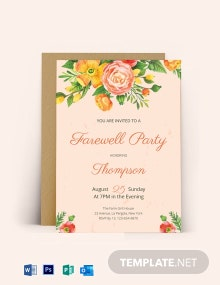 Floral Farewell Party Invitation Template