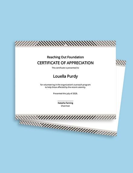 Free Volunteer Appreciation Certificate Template